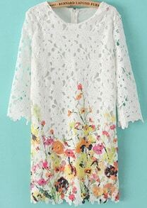 White Half Sleeve Hollow Yellow Floral Dress