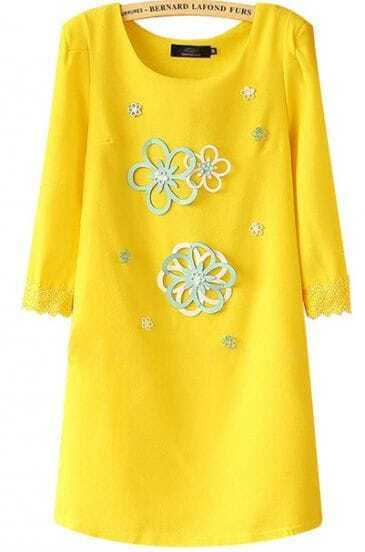 Yellow Round Neck Applique Slim Straight Dress