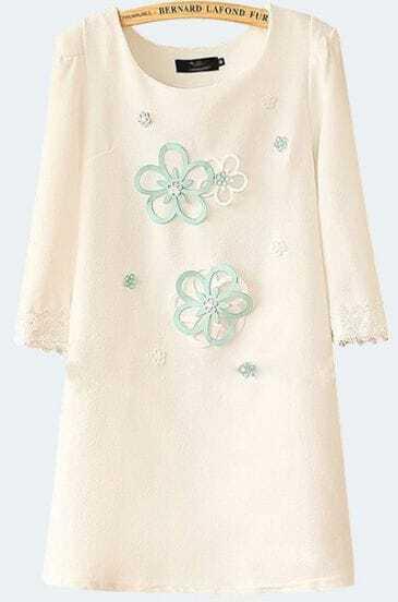 White Round Neck Applique Slim Straight Dress