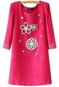 Rose Red Round Neck Applique Slim Straight Dress