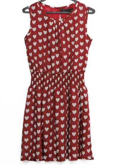 Wine Red Sleeveless Hearts Print Pleated Dress