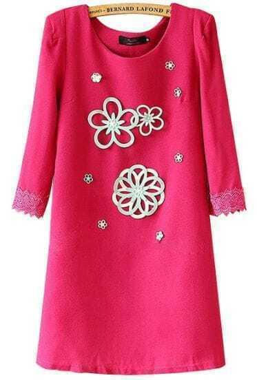 Rose Red Round Neck Applique Slim Straight Dress