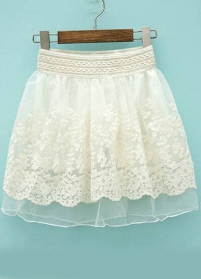 White Elastic Waist Floral Crochet Lace Skirt