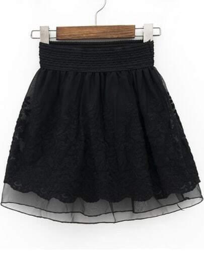 Black Elastic Waist Floral Crochet Lace Skirt
