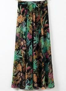 Green Sheer Tribal Print Chiffon Skirt
