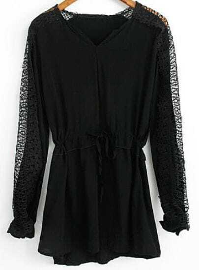 Black V Neck Contrast Lace Drawstring Dress