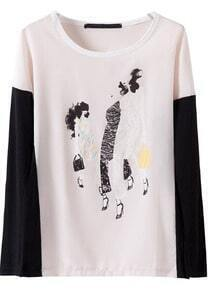 White Contrast Long Sleeve Beauty Print T-Shirt