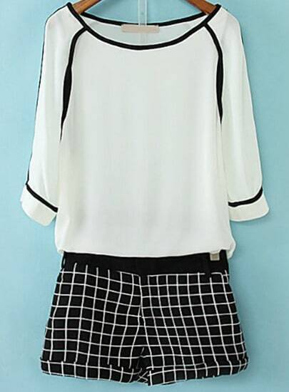 White Round Neck Chiffon Top With Black Plaid Shorts