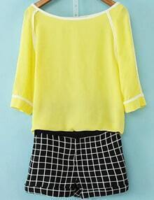 Yellow Round Neck Chiffon Top With Black Plaid Shorts