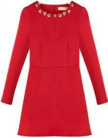 Red Long Sleeve Rhinestone Slim Dress