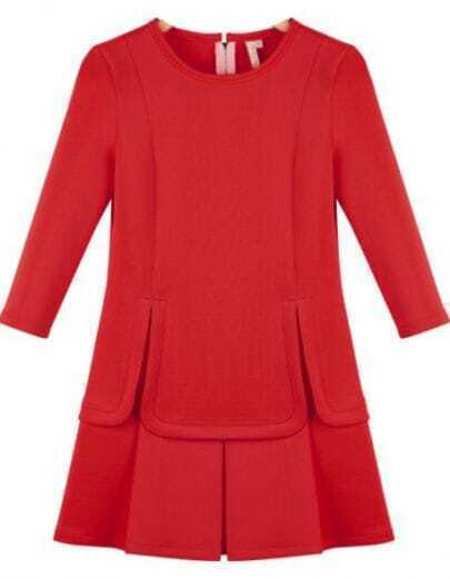 Red Round Neck Split Ruffle Slim Dress