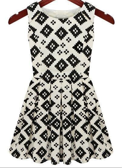 Beige Black Sleeveless Geometric Print Pleated Dress