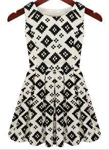 Beige Black Sleeveless Geometric Print Pleated Dress