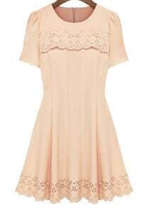 Nude Short Sleeve Hollow Pleated Dress