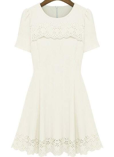 Ivory Short Sleeve Hollow Pleated Dress