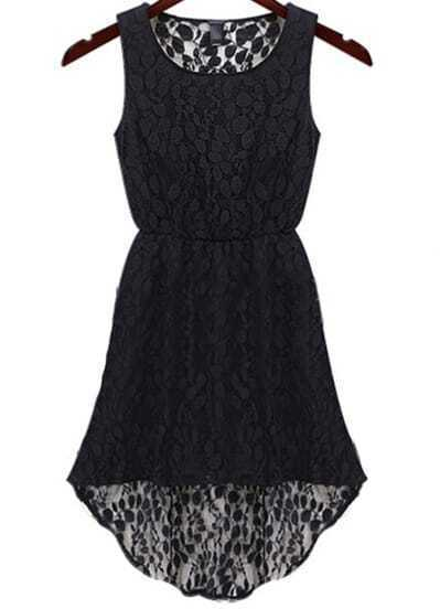 Black Sleeveless Hollow Lace High Low Dress