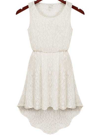 White Sleeveless Hollow Lace High Low Dress