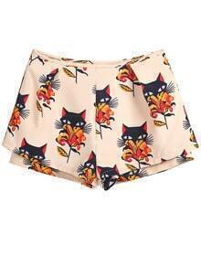 Apricot Low Waist Floral Cats Print Shorts