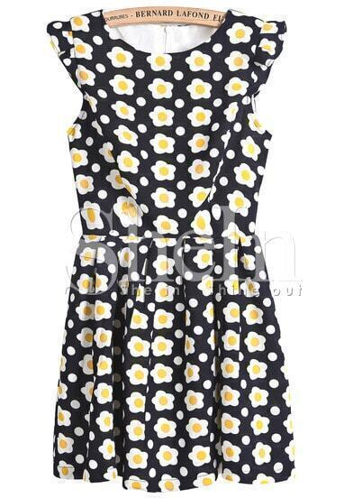Black Sleeveless Sunflowers Print Dress