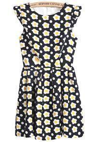 Black Sleeveless Sunflowers Print Dress