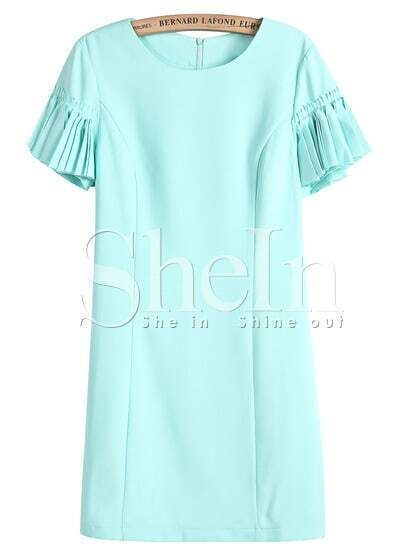 Blue Ruffle Short Sleeve Slim Dress