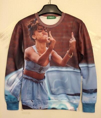 Blue The Finger Print Sweatshirt