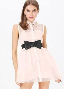 Beige Sleeveless Bead Lapel Belt Dress