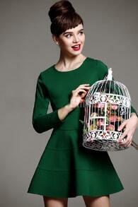 Green Long Sleeve Ruffle Dress