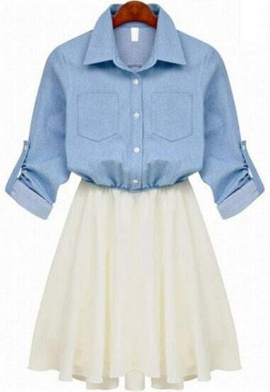 Blue Long Sleeve Denim Contrast Chiffon Ruffle Dress