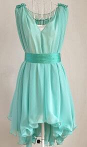 Mint Green Sleeveless Belt Ruffle Asymmetric Dress