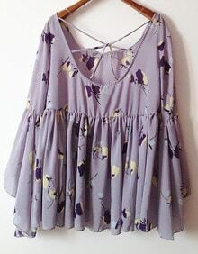 Purple Long Sleeve Floral Print Cross Back Dress