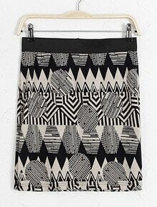 Black Geometric Print Bodycon Skirt