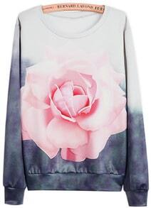 White Grey Long Sleeve Rose Print Sweatshirt