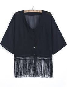 Black V Neck Batwing Sleeve Tassel Blouse