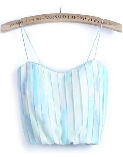 Blue Spaghetti Strap Zipper Pleated Vest
