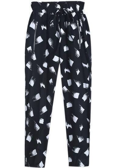 Black Elastic Waist Geometric Print Pant