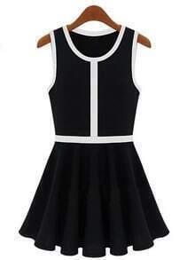 Black Sleeveless Contrast Trims Pleated Dress