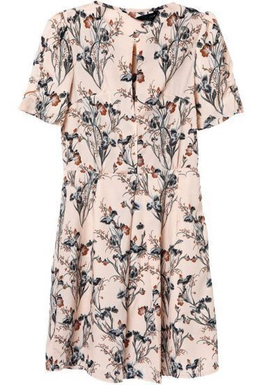Pink Short Sleeve Floral Buttons Pleated Dress