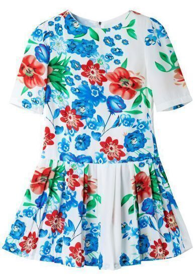 White Short Sleeve Floral Pleated Dress