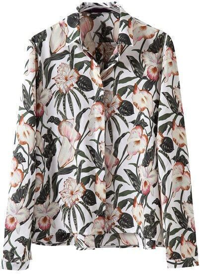 White Long Sleeve Floral Leaves Print Blouse
