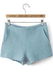 Blue Mid Waist Pockets Straight Shorts