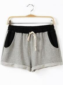 Grey Contrast Black Drawstring Shorts