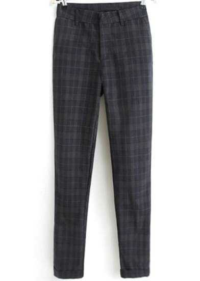 Grey Vintage Plaid Loose Pant