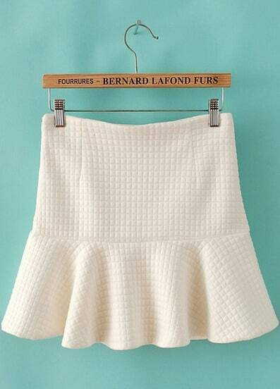 Beige High Waist Plaid Ruffle Skirt