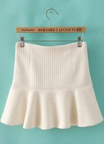 Beige High Waist Plaid Ruffle Skirt
