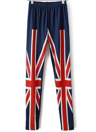 Blue Elastic Waist Union Jack Print Leggings