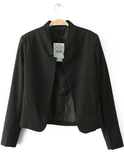 Black Notch Collar Long Sleeve Crop Blazer