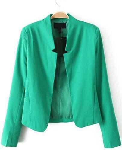 Green Notch Collar Long Sleeve Crop Blazer