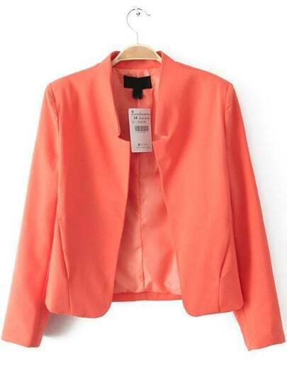 Red Notch Collar Long Sleeve Crop Blazer