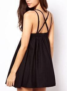 Black Spaghetti Strap Backless Pleated Dress